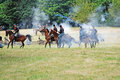 Reenactment civil war willamette mission state park near salem oregon july firing black powder weapons each other Royalty Free Stock Image