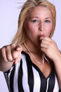 Ref blowing whistle Royalty Free Stock Photos