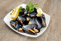 Ref mussels with lemon appetizer reef cooked in boiling water juice Royalty Free Stock Image