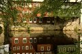 Refection in new england on a summer day old buildings the water mill town Stock Images
