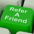 Refer a friend key shows suggest to person showing Stock Photos