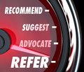 Refer Suggest Advocate Recommend Speedometer Royalty Free Stock Photo