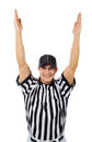 Referee football official signals a touchdown isolated on white series of an american with various props Stock Image