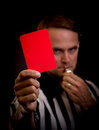 Referee foul holding red card for concept Stock Image