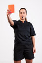 Referee showing the red card Royalty Free Stock Photo