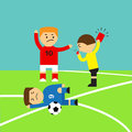 Referee showing the red card to a soccer player who making tackle foul illustration design eps Royalty Free Stock Image