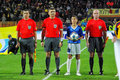 Referees team at the match beginning Royalty Free Stock Photo