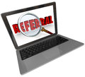 Referral word magnifying glass laptop computer screen a modern silver or aluminum with a showing a over the to illustrate the Stock Photos