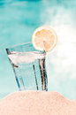 Refeshing drink on the beach Royalty Free Stock Photography