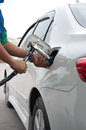 Refill cng gas at fuel station in thailand Royalty Free Stock Images