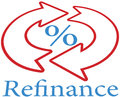 Refinance home mortgage loan icon symbol to lower percent rate Royalty Free Stock Images