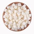 Refined sugar in a wooden bowl on a white background Stock Images
