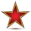 Refined vector red star with golden outline festive d pentagonal design element clear eps Stock Image