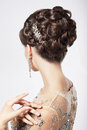 Refinement and sophistication stylish woman with refined festive hairstyle posing Stock Image