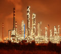 Refinery industrial plant at night with industry boiler Stock Image