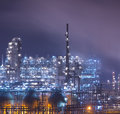 Refinery industrial plant at night with industry boiler Royalty Free Stock Images