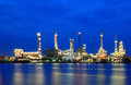 Refinery plant area at twilight Stock Photo
