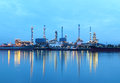 Refinery plant area at twilight, Thailand. Stock Photo
