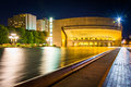 Reflecting pool and reflection hall at night seen at christian science plaza in boston massachusetts Stock Photo