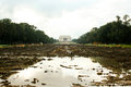 Reflecting pool under construction looking down a drained on to the lincoln memorial in the distance on an overcast day Stock Photo