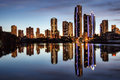Reflection of apartments at sunset gold coast australia Stock Photography