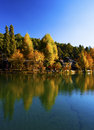 Reflection of autumn trees on water Royalty Free Stock Photo