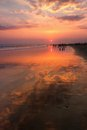 Reflection on the beach sunset at paeantritis in indonesia shorten for paris for locals Royalty Free Stock Photos