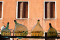 Reflection from bottles detail view of venice windows street Royalty Free Stock Image