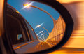 Reflection on car mirror of high speed road Royalty Free Stock Photography