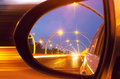 Reflection on car mirror of high way Royalty Free Stock Photography