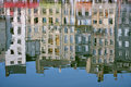 Reflection of facade building in water Royalty Free Stock Image