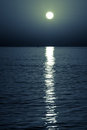 Reflection of the moon on sea surface moonlit path Royalty Free Stock Photography