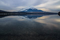 Reflection of mount fuji over lake yamanaka Royalty Free Stock Photos