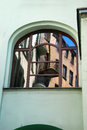 Reflection of old building in window in lodz on piotrkowska street poland Royalty Free Stock Photos