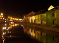 Reflection of the old warehouse and the lighted up street lamp on otaru canal hokkaido japan Royalty Free Stock Photo