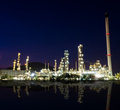 Reflection of petrochemical industry on sunset. Royalty Free Stock Photo
