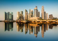 Reflection of Singapore Central Business District (CBD) in the morning. Royalty Free Stock Photo