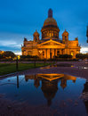 Reflection of St. Isaac& x27;s Cathedral in a puddle Royalty Free Stock Photo