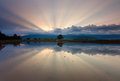 Reflection of sunrays at sunrise in kota belud sabah east malaysia borneo Royalty Free Stock Photography