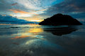 Reflection of sunset colors at sabah borneo malaysia Royalty Free Stock Photography