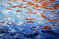 Reflection of tiled roofs in rippled water Stock Photography