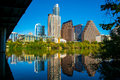 Reflection Town Lake Austin Texas Skyline Under South Congress Avenue Bridge still colorado river