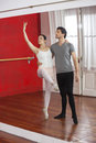 Reflection of trainer performing with ballet dancer male female in dance studio Royalty Free Stock Photo