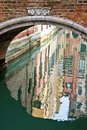 Reflection under a bridge, Venice Royalty Free Stock Photo