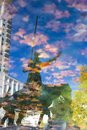Reflection in the water of a statue of Don Quixote Royalty Free Stock Photo