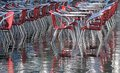 Reflection on the water table and chairs in Venice during the fl Royalty Free Stock Photo