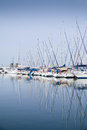 Reflection of yacht masts in the water Royalty Free Stock Photo