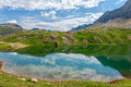 Reflections on the asnos lake in panticosa spanish pyrenees Royalty Free Stock Photos