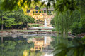 Reflections in botanical pond tranquil with at fort worth garden Stock Photography