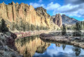 Reflections in the Crooked River at Smith Rock State Park Royalty Free Stock Photo